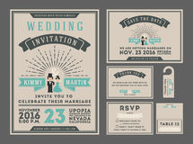 Classic vintage sunburst wedding invitation design with couple cartoon. Stock Photo