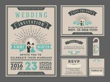 Classic vintage sunburst wedding invitation design with couple cartoon. Stock Photo