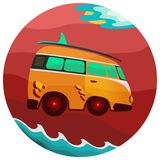 Volkswagen bus classic vintage travel stock illustration