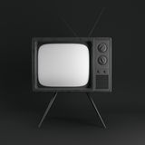 Classic vintage TV  on black. 3d rendering Stock Photography