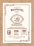 Classic vintage wedding invitation card Royalty Free Stock Photo