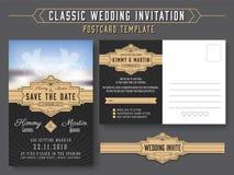 Classic vintage wedding invitation card design stock illustration