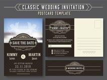 Classic vintage wedding invitation card design Royalty Free Stock Image
