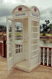 Classic vintage white phone booth Stock Photo