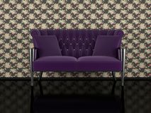 Classic violet sofa indoor Royalty Free Stock Photos