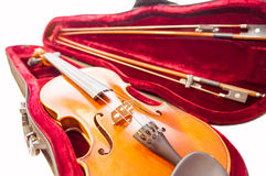 Classic violin with the fiddlesticks in the fiddle-case isolated on white. Stock Photography