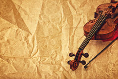 Classic violin on grunge paper background Royalty Free Stock Image