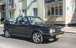 Classic Volkswagen Golf 1 convertible at a veteran cars meeting