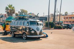 A classic Volkswagen Van full with surf boards royalty free stock photography