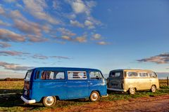 Classic volkswagon camper vehicles Royalty Free Stock Image