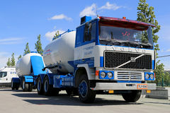 Classic Volvo F1225 Tank Truck for Bulk Transport on Display Stock Photo