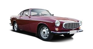 Classic Volvo P1800 side view isolated on white. Classic Swedish coupe sport car side view isolated on white stock photo