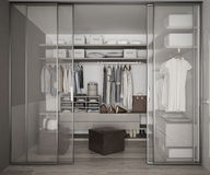 Classic walk in closet with glass sliding doors Stock Image