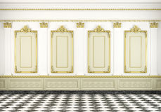 Classic wall background with golden Stock Photos