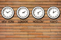Classic Wall Bricks Clocks Clock Timezone Stock Photo