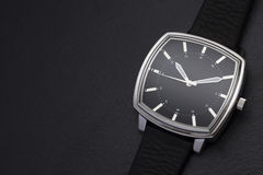 Classic watch on black background Stock Images