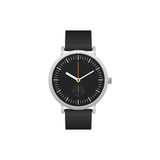 Classic watch with black leather strap isolated Royalty Free Stock Photo