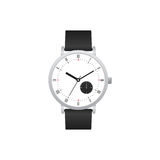 Classic watch with black leather strap isolated Royalty Free Stock Photos
