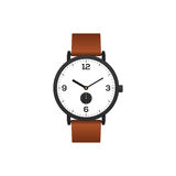 Classic watch with brown leather strap isolated Royalty Free Stock Photos