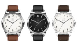 Classic watch. Set of Three Vector Realistic Classic Metal Watch On White Background Stock Photos