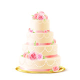 Classic Wedding Cake With Roses Realistic. Classic 3 tiered delicious wedding cake with white icing decorated with cream roses realistic image vector Royalty Free Stock Images