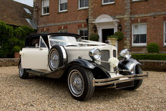 Classic Wedding Car. Vintage wedding car in white Royalty Free Stock Image
