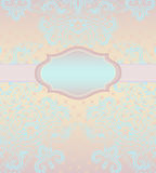 Classic wedding card with decorative elements . Vector print. Beautiful hand drawn turquoise pattern, delicate pink     background. Use for greeting card Stock Photos