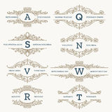 Classic wedding retro logo set. Fashionable classic wedding emblems or organic retro fashion logo set. Vector illustration Royalty Free Stock Photo