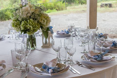 Classic wedding table arrangement in garden Stock Images