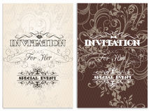 Classic weddings cards  with swirl ornament. Elegant wedding invitation set for her and for him Stock Image