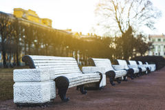 Classic white benches in the Park, sun day Stock Image