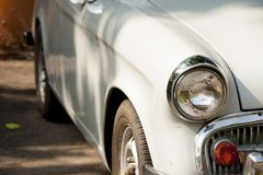 Classic white car. Classic white car parked on the ground Royalty Free Stock Images