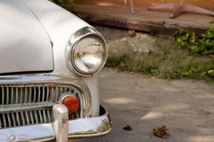 Classic white car. Classic white car parked on the ground Royalty Free Stock Photography