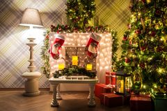 Classic white christmas interior background Royalty Free Stock Photo