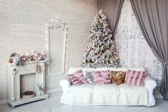 Classic white christmas interior background Stock Images