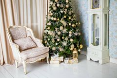 Classic white christmas interior Stock Images
