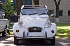 Classic White Citroen 2CV. In restored condition parked at a classic car show in Târgu Mureș, Romania Stock Photos