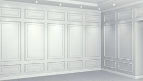 Classic white interior with copy space. Red walls with classical decor. Floor parquet herringbone. 3d rendering royalty free illustration