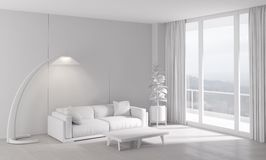 Classic white interior with modern furniture Stock Photo