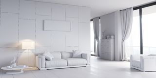 Classic white interior with modern furniture Stock Images