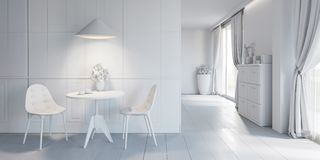 Classic white interior with modern furniture Royalty Free Stock Photo