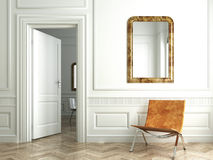 Classic white interior whit mirrors Royalty Free Stock Images