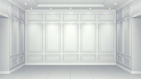 Free Classic White Interior With Copy Space. Red Walls With Classical Decor. Floor Parquet Herringbone. 3d Rendering Stock Photo - 148548850