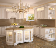 Classic white kitchen. Royalty Free Stock Photos