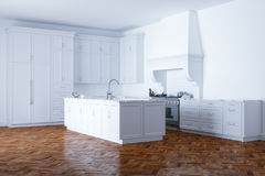Classic white kitchen aid and white interior with wooden parquet Royalty Free Stock Photos