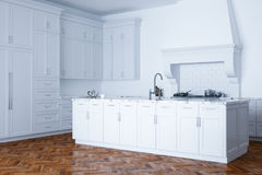 Classic white kitchen aid and white interior with wooden parquet Stock Photography