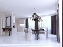 Classic white kitchen-dining room in the style of art Deco. Royalty Free Stock Image