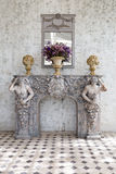Classic white marble fireplaces with french rococo style. Royalty Free Stock Image