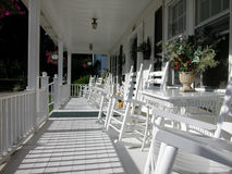 Classic White Plank Front Porch-Color royalty free stock image