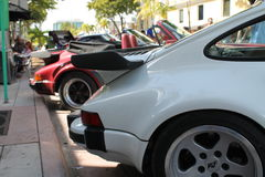 Classic white Porche tail up close Royalty Free Stock Photos
